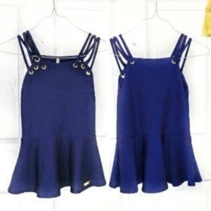 NWT Le Vintage blue tapestry strappy peplum